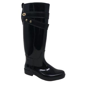 Coach Talia Black Rubber Tall Rain Boots